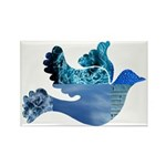 Blue Bird - Dove in flight Rectangle Magnet (10 pa