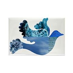 Blue Bird - Dove in flight Rectangle Magnet (10 pa