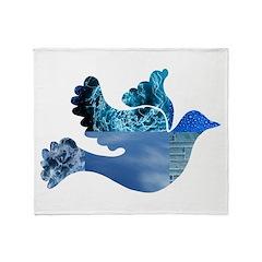 Blue Bird - Dove in flight Throw Blanket