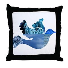 Blue Bird - Dove in flight Throw Pillow