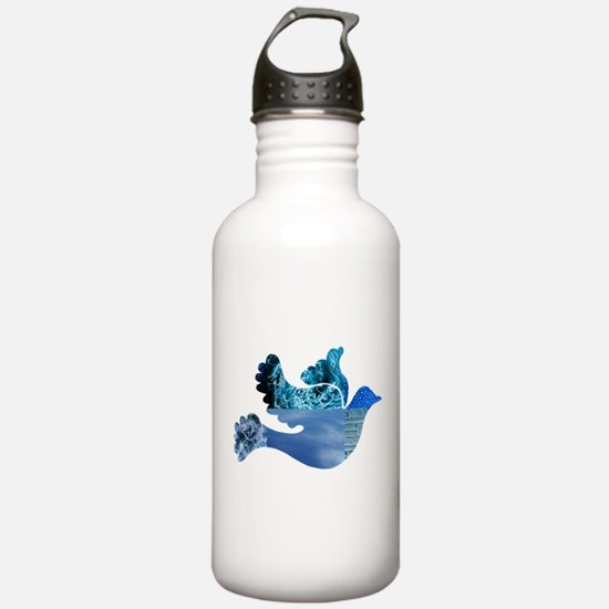 Blue Bird - Dove in flight Water Bottle