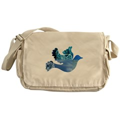 Blue Bird - Dove in flight Messenger Bag