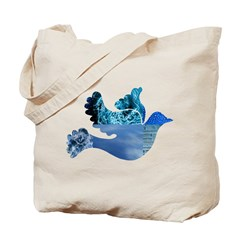 Blue Bird - Dove in flight Tote Bag