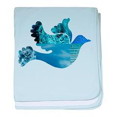 Blue Bird - Dove in flight baby blanket