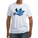 Blue Bird - Dove in flight Fitted T-Shirt