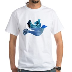 Blue Bird - Dove in flight White T-Shirt