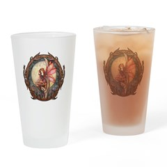 Autumn Red Gothic Fairy Art Drinking Glass