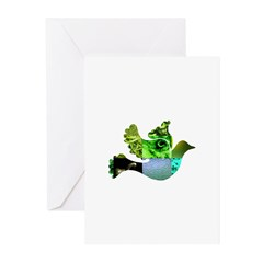 Green Bird Design - Flying Do Greeting Cards (Pk o