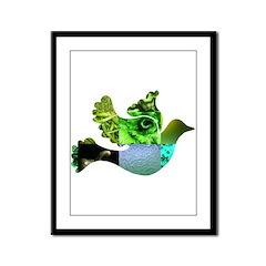 Green Bird Design - Flying Do Framed Panel Print