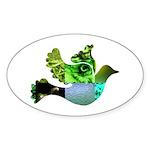 Green Bird Design - Flying Do Sticker (Oval 10 pk)