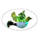 Green Bird Design - Flying Do Sticker (Oval)
