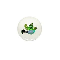 Green Bird Design - Flying Do Mini Button (100 pac