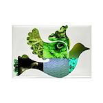 Green Bird Design - Flying Do Rectangle Magnet (10