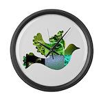 Green Bird Design - Flying Do Large Wall Clock