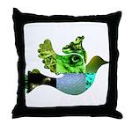 Green Bird Design - Flying Do Throw Pillow