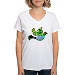 Green Bird Design - Flying Do Women's V-Neck T-Shi