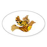 Yellow Bird Flying Dove Sticker (Oval 50 pk)
