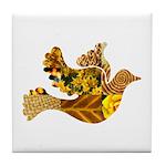 Yellow Bird Flying Dove Tile Coaster