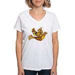 Yellow Bird Flying Dove Women's V-Neck T-Shirt
