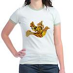 Yellow Bird Flying Dove Jr. Ringer T-Shirt