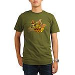 Yellow Bird Flying Dove Organic Men's T-Shirt (dar