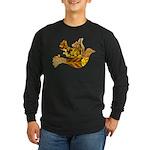 Yellow Bird Flying Dove Long Sleeve Dark T-Shirt