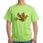 Yellow Bird Flying Dove Green T-Shirt