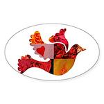 Red Bird Dove Flight Sticker (Oval 50 pk)