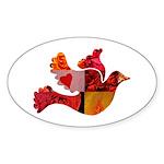 Red Bird Dove Flight Sticker (Oval 10 pk)