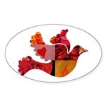 Red Bird Dove Flight Sticker (Oval)