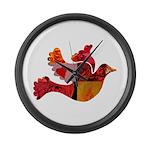 Red Bird Dove Flight Large Wall Clock