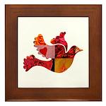 Red Bird Dove Flight Framed Tile