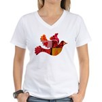 Red Bird Dove Flight Women's V-Neck T-Shirt