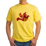 Red Bird Dove Flight Yellow T-Shirt