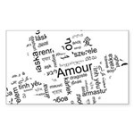 Love Dove - Words for love in Sticker (Rectangle)