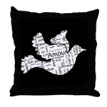 Love Dove - Words for love in Throw Pillow