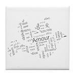 Love Dove - Words for love in Tile Coaster