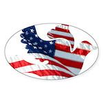 USA American Flag Freedom Dov Sticker (Oval 50 pk)