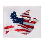 USA American Flag Freedom Dov Throw Blanket