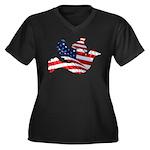 USA American Flag Freedom Dov Women's Plus Size V-