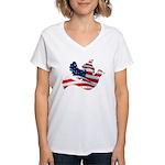 USA American Flag Freedom Dov Women's V-Neck T-Shi