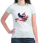 USA American Flag Freedom Dov Jr. Ringer T-Shirt