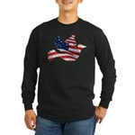 USA American Flag Freedom Dov Long Sleeve Dark T-S
