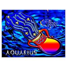 Aquarius Zodiac Sign Wall Art Poster