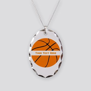Basketball Personalized Necklace Oval Charm