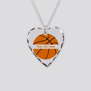 Basketball Personalized Necklace Heart Charm