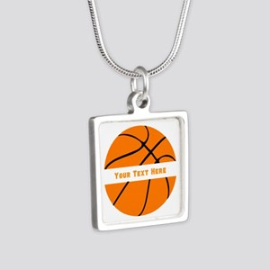 Basketball Personalized Silver Square Necklace