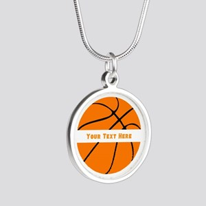 Basketball Personalized Silver Round Necklace