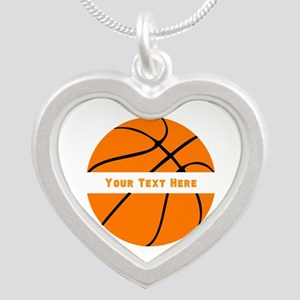 Basketball Personalized Silver Heart Necklace