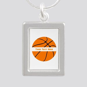 Basketball Personalized Silver Portrait Necklace